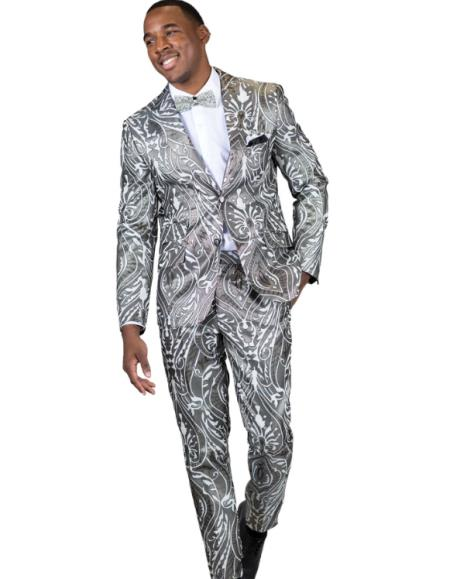Fashion Gray ~ Grey Paisley Floral Suit or Tuxedo Jacket and Pants Perfect for Prom Outfit or Wedding Silve