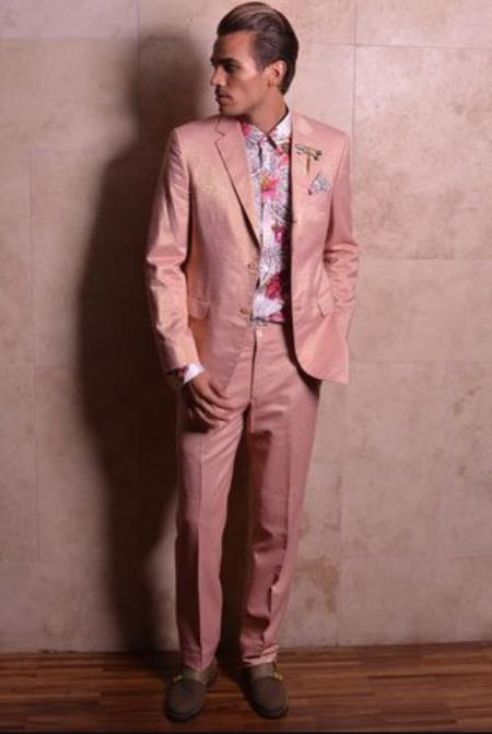 Mens Rose Gold - Dusty Rose Notch Lapel Suits / Tuxedo