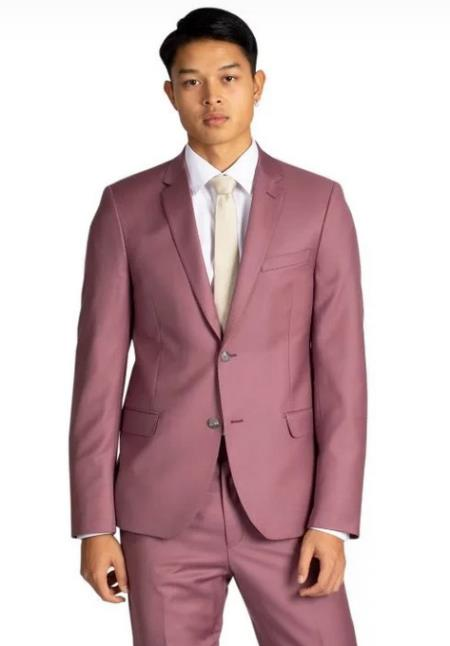 Mens Rose Gold - Dusty Rose One Chest Pocket Suits / Tuxedo