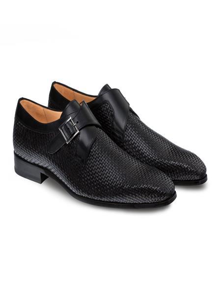 Mezlan Brand Mezlan Men's Dress Shoes Sale SABATO By Mezlan In Black- Men's Buckle Dress Shoes