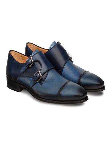 Mezlan Brand Mezlan Men's Dress Shoes Sale Men's double monk strap shoes BARDEM By Mezlan In Electric Blue/Blue- Men's Buckle Dress Shoes