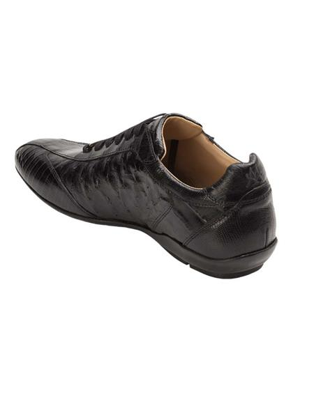 Mens Black Lizard and Ostrich Quill Exotic Dress Shoes