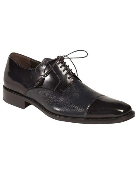 Mezlan Brand Mezlan Mens Dress Shoes Sale Blue Classic Cap Toe Dress Lace-Up Handmade in Spain