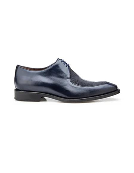 Authentic Genuine Skin Italian Mario, Exotic Stingray and Italian Calf, Blucher Dress Shoes, Style: 3B9 - Navy
