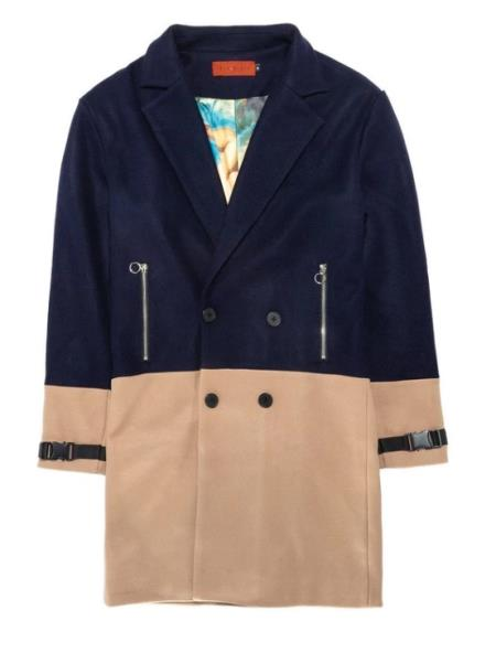 Double Breasted Overcoat - Wool Peacoat - Three Quarter Topcoat Navy Blue and Camel