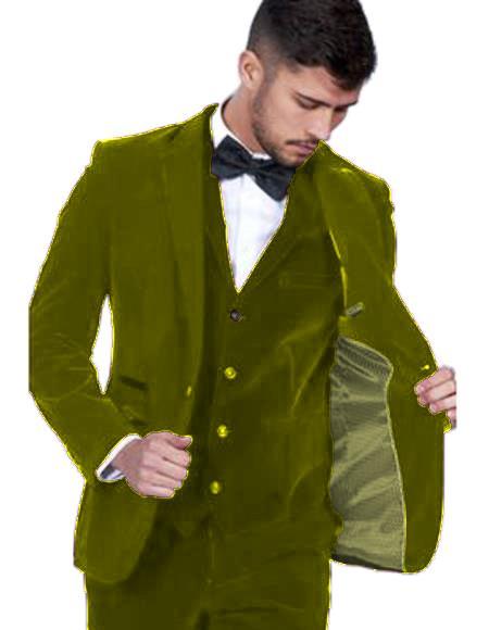 Men's Olive Green Color  Peak Lapel Men's Velvet Suit Vested