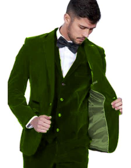Men's Dark Green Color  Peak Lapel Men's Velvet Suit Vested