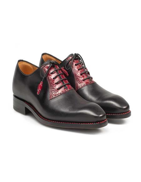 Mezlan Brand Mezlan Men's Dress Shoes Sale G531-P By Mezlan In Black/Red