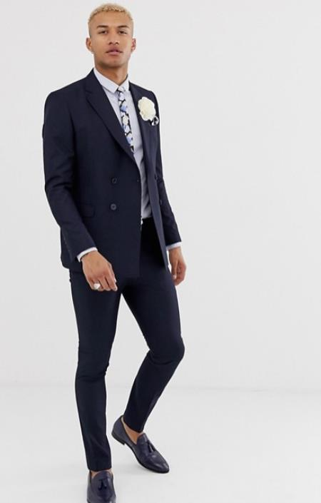 Slim Fit Double Breasted suit 4 buttons Style Comes In Black Or Charcoal Plaid or Navy or Indigo Pla