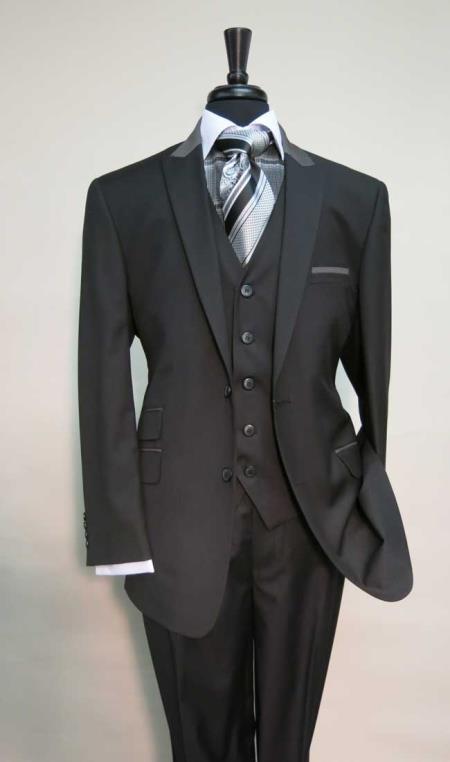 Ticket Pocket Peak Lapel Black Suit With Grey Collar Vested Suit