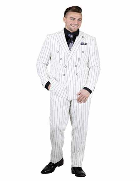 White and Bold 1920s Pinstripe ~ Chalk Stripe Double Breasted Suit