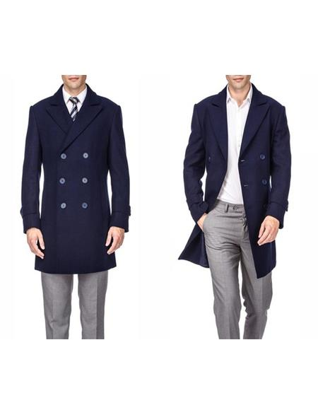 Men's Double Breasted Navy Front Button Wool Wool Men's Carcoat - Car Coat Mid Length Three quarter length coat