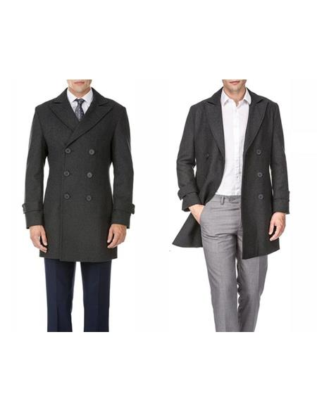Mens Double Breasted Charcoal Wool Provides warmth Wool Mens Carcoat - Car Coat Mid Length Three quarter length coat