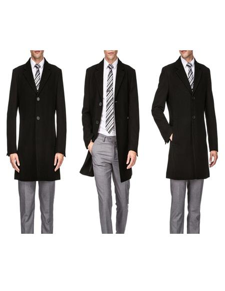 Mens Single Breasted Black Wool Three Quarter Carcoat Long Jacket