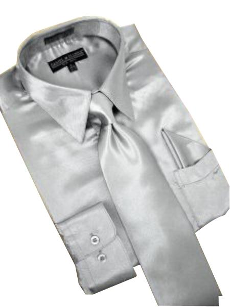 Fashion Cheap Priced Sale Satin Silver Grey Dress Shirt Combinations Tie Hanky Set Mens Dress Shirt