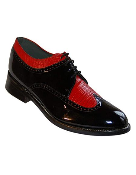 Stacy Baldwin Men's Wide Eee Width Wingtip Two Toned Dress All Leather 1920's Gangster Vintage Style Oxfords Black and Red