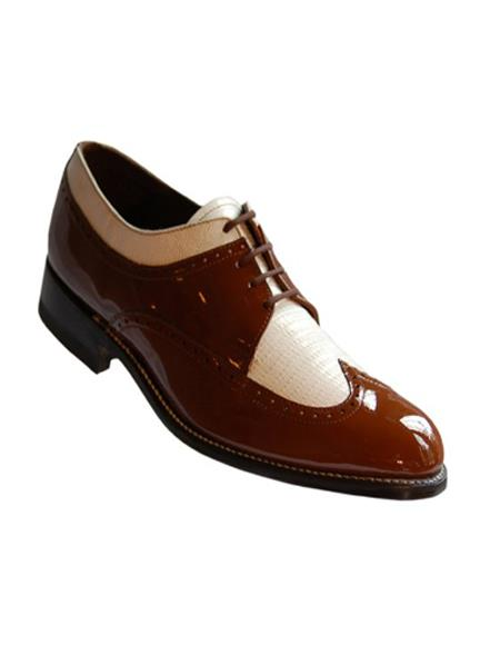 Stacy Baldwin Men's Wide Eee Width Wingtip Two Toned Dress All Leather 1920's Gangster Vintage Style Oxfords Brown and White