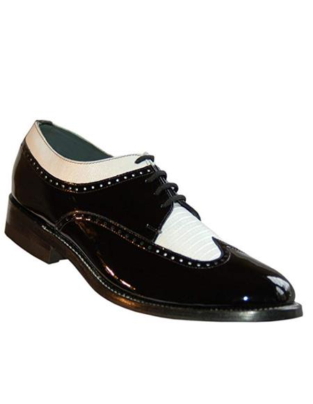 Stacy Baldwin Mens Wide Eee Width Wingtip Two Toned Dress All Leather 1920's Gangster Vintage Style Oxfords Black White