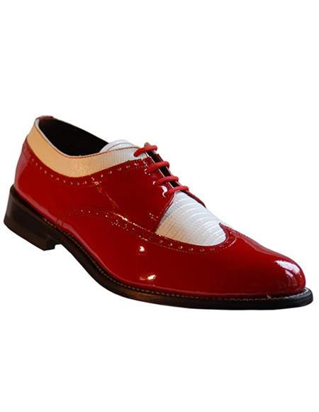 Stacy Baldwin Men's Wide Eee Width Wingtip Two Toned Dress All Leather 1920's Gangster Vintage Style Oxfords Red and White