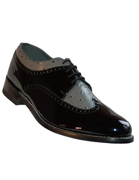 Stacy Baldwin Men's Wide Eee Width Wingtip Two Toned Dress All Leather 1920's Gangster Vintage Style Oxfords Black and Grey