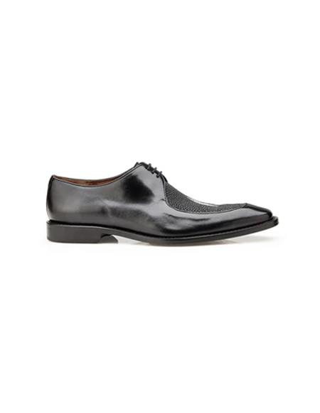 Authentic Genuine Skin Italian Mario, Exotic Stingray and Italian Calf, Blucher Dress Shoes, Style: 3B9 - Black