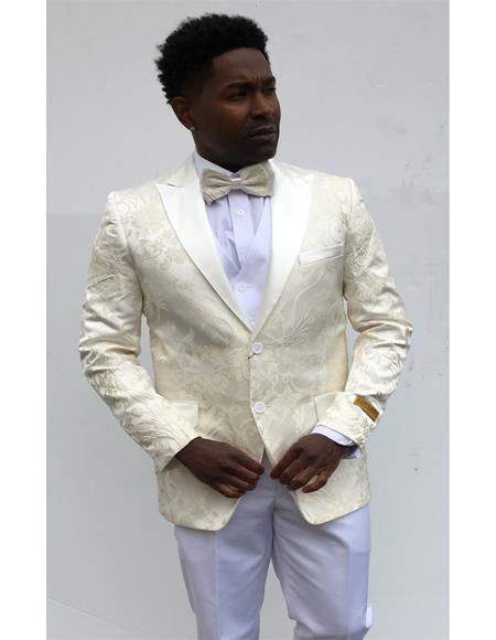 Champagne Suit SKU#Blazer-777 Ivory ~ Cream ~ Off White Paisley ~ Floral Blazer Dinner Jacket Slim Fit Sport Coat W