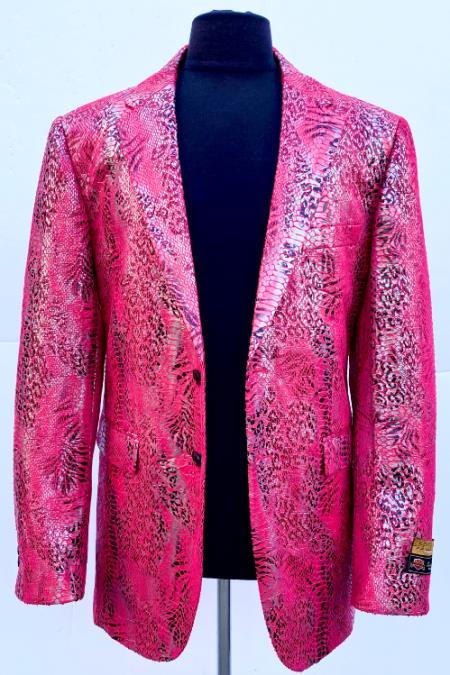 Mens Red Sport Jacket Blazer Alligator Coat