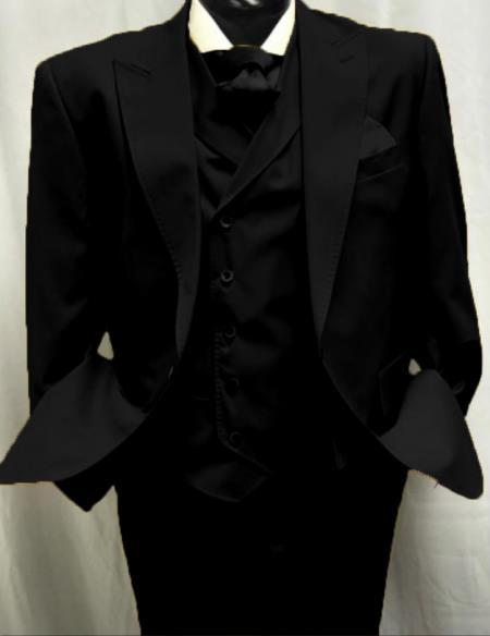 Black Great Gatsby Look Wool Single button Pants