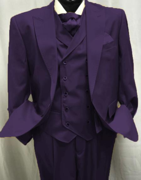 Harvey Style Double breasted Vest 1920s Great Gatsby Look Wool  button Peak lapel Pleated Pants Eggplant