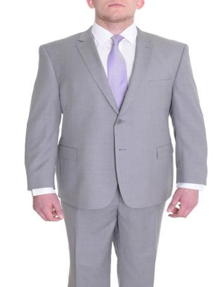 Men's Portly Fit Solid Gray Two Button Wool Suit Executive Fit Suit - Mens Portly Suit