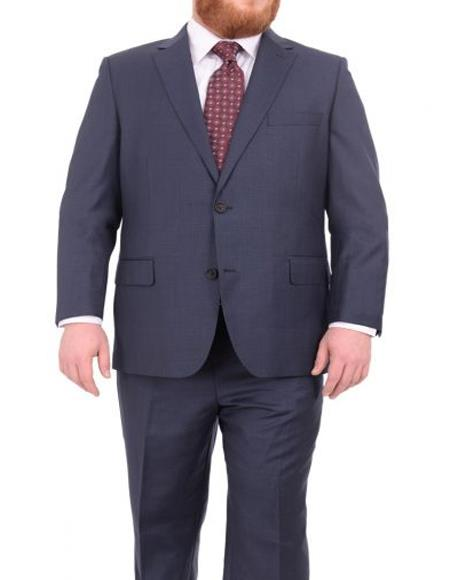 Mens Portly Fit Heather Blue Two Button Wool Blend Suit