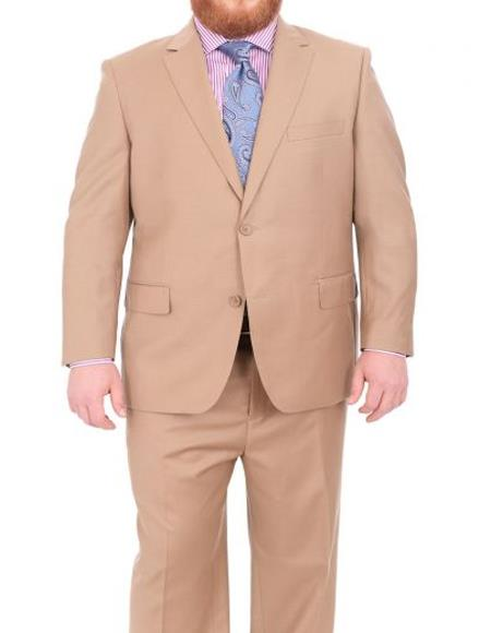 Mens Portly Executive Fit Solid Tan Light Brown Two Button 2 Piece Wool Suit