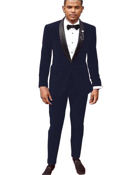 Mens Dark Navy Blue Tuxedo Jacket and Velvet Pants