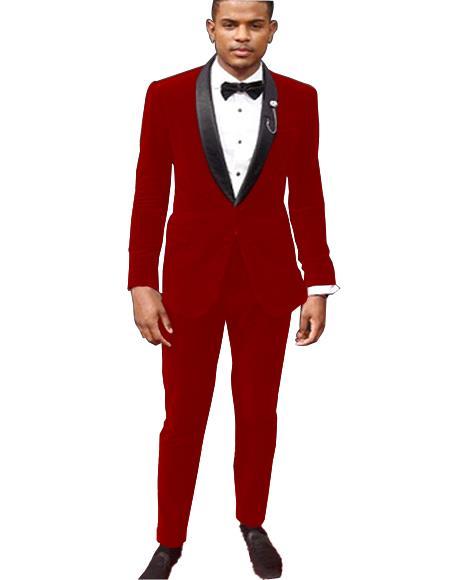 Mens Hot Red Tuxedo Jacket and Velvet Pants