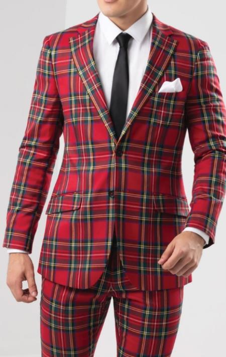 Mens Red Tartan - Plaid Slim Fit Checkered Suit Jacket