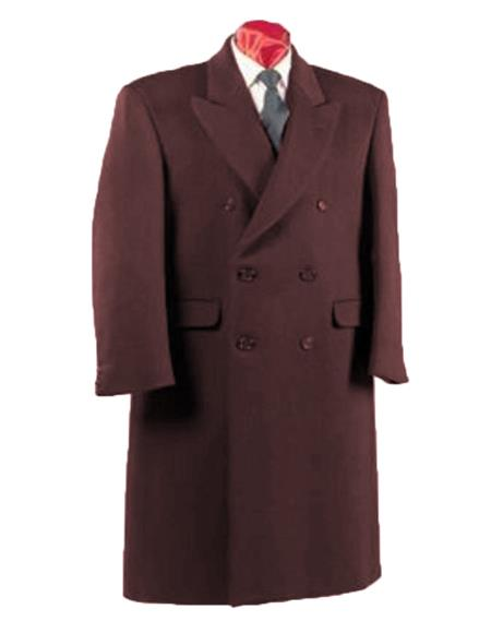 Alberto Nardoni Authentic Fully Lined Double Breasted Mens Dress Coat Wool Blend Long Overcoat