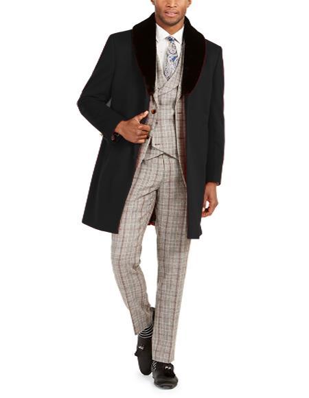 Men's Faux-Fur Trim Overcoat Three Quarter Length Coat