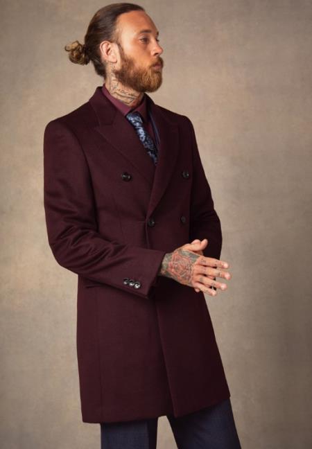 Men's Burgundy ~ Wine Double Breasted Peak Lapel Wool Wool Men's Carcoat - Car Coat Mid Length Three quarter length coat