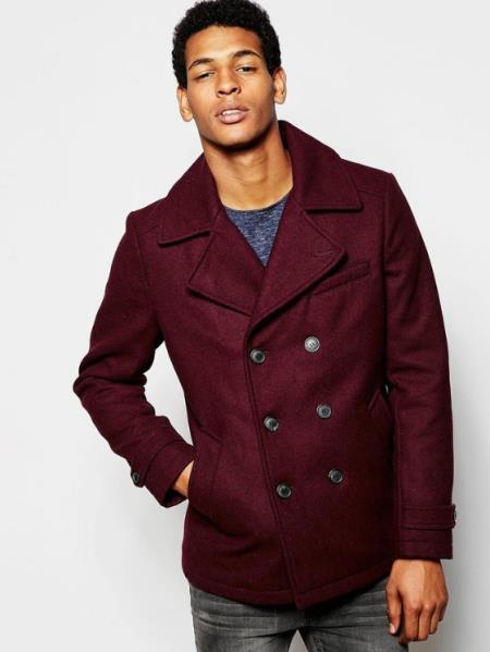 Mens Burgundy ~ Wine Six Button Wool Peacoat ~ Car Coat
