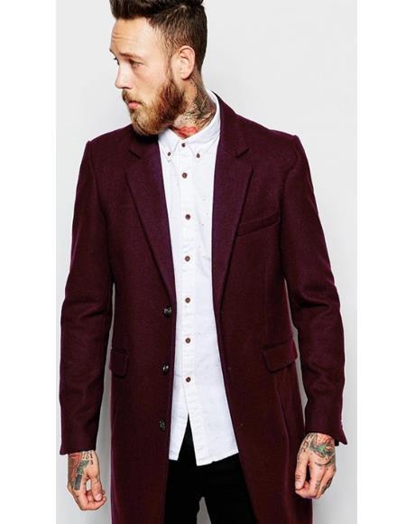 Men's  Wool Burgundy ~ Wine Car Coat