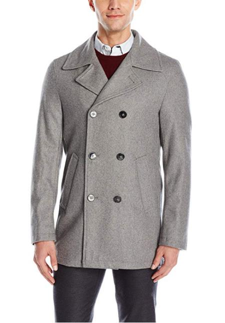 Mens Light Grey ~ Wine Six Button Welt Slash Pockets  Wool Coat