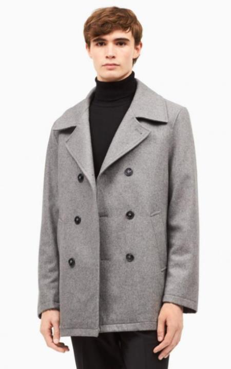 Mens Wool Notch Lapel Light Grey ~ Wine Wool Car coat