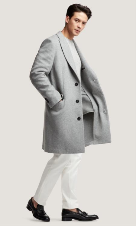 Mens Light Grey ~ Wine Peak Lapel Two Flap Front Pockets Wool Wool Mens Carcoat - Car Coat Mid Length Three quarter length coat