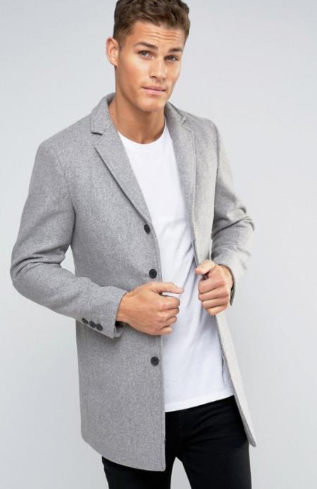 Mens Light Grey ~ Wine Three Button Wool Mens Peacoat