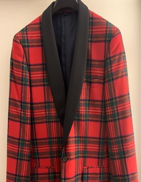 Men's Tartan Double Vent Plaid Pattern Fully Lined Button Closure Suit
