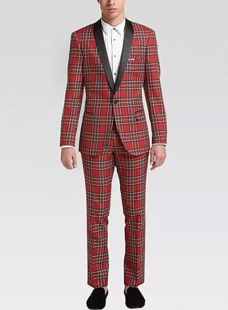 Tartan Red and Black Pattern Fully Lined One Button Suit For Men