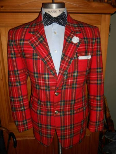 Mens Tartan One Button Fully Lined One Chest Pocket Suit