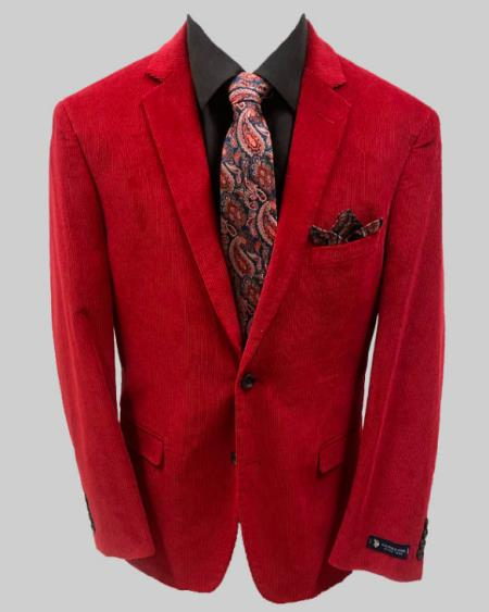 Adolfo Red Solid Corduroy Sportcoat Available December/28/2020