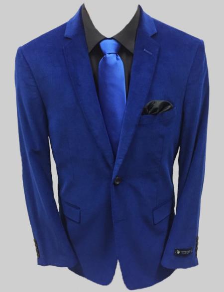 Adolfo Royal Blue Solid Corduroy Sportcoat