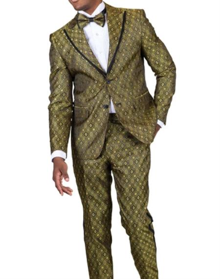 Fashion Gold Paisley Floral Suit or Tuxedo + Matching Bow Tie Perfect for Prom or Wedding